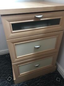 Wooden bed side tables with drawers