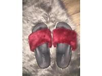 Red Burgundy Faux Fur Slides Sliders Rihanna Jenner style