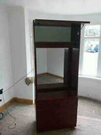 Wardrobe with mirror and light