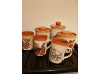 Ashdale Pottery. 3 Mugs, 3 Storage Jars.