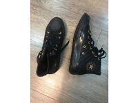 £20 Converse all star black leather trainers UK 4.5