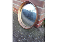 Vintage red/gold round convex wall mirror
