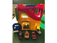 Fisher a Price Little People Take Along Garage & Ramp with 6 Cars