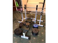 Full incline bench set and good full range of weight cast set