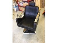 Leather and Chrome Adjustable Black Barbers Shop Hairdressing Chair Shop Fitting