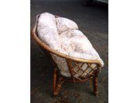 2 seater sofa, conservatory outdoor sofa, garden sofa, wicker, cane - £60 ONO