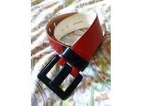 YSL Vintage Red and Blue Leather Belt. REDUCED
