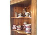 Pine corner shelves display cabinet, solid wood