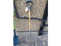Garden spade, form and rake