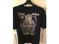 New Tupac Thug Life T-Shirt Black Size Large