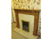 Marble Fire Surround and Marble Hearth with Wooden Mantle