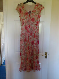 3/4 length lined summer dress - size 12, new with labels