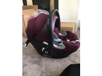 Aton Q car seat Mulberry & isofix base mamas and papas (rarely used)