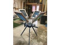 Screen printing carousel for t-shirts, squeegees, screens & various equipment
