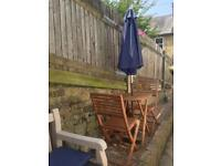 Small Outdoor Table and Chairs Set with Parasol and Stand
