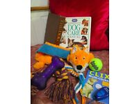 DOG TOYS, CLICKER TRAINING TOOL AND BOOKS