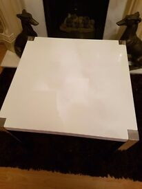High gloss white side table only £15