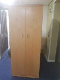 2 door light brown wood wardrobe