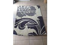 Grey and light beige wool rug