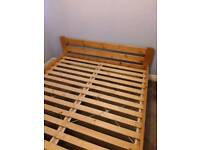 IKEA Pine slated king size bed and mattress