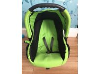 Green Car seat with matching changing bag