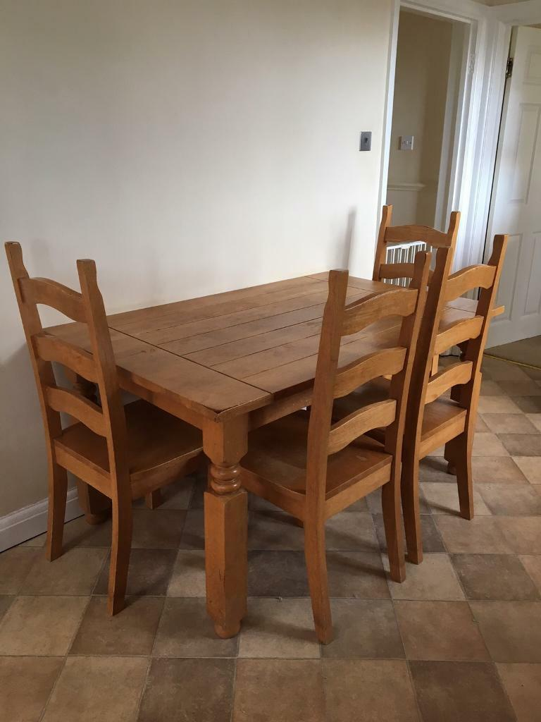 Solid Wood kitchen/dining table & 4 chairs   in Nettleham ...