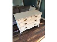 Shabby chic chest of drawers solid real wood