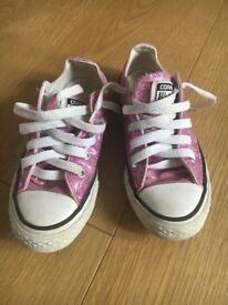 Converse size 11 girls pink glitter trainers
