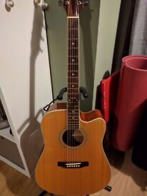 Electro-acoustic guitar with hard case and guitar stand