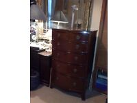 VICTORIAN CHEST OF DRAWERS - BOW CHEST ON SPLAM BRACKET FEET -