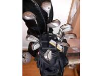 Full set Ben hogan edge irons and woods with bag ant trolley with putter