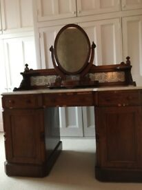 Antique marble-topped mahogany dressing table and mirror.