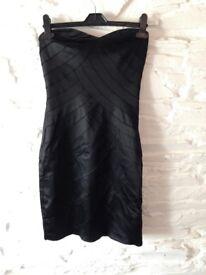Lovely black Warehouse strapless dress size 8