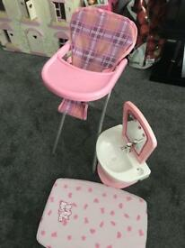 Dolls high chair, working sink and mirror and changing matt