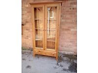 Solid pine glass front display unit