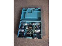 MAKITA 1.3AH LI-ION COMBI DRILL & IMPACT DRIVER TWIN PACK 2 BATTERIES DK18015X2 charger and Box