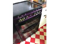 Metallic purple ceramic hob electric cooker 60cm wide vgc