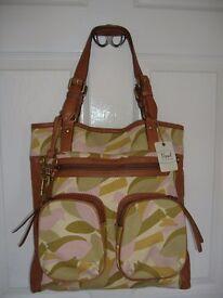 FURLA large leather & canvas shopper bag