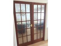Internal French style wooden double doors with Glass Panels