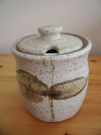 Studio pottery preserves dish + lid (including inner sealing lid for storage) for marmalade, jam,etc