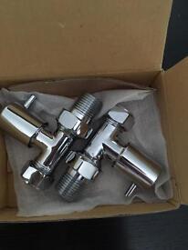 Chrome straight radiator valves ( pair )