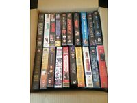 Box of vhs films 60 tapes mostly unopened