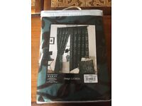 New green/black curtains 90 x 90 RRP £120 3 sets