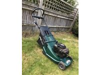 Atco petrol lawn mower with rear roller