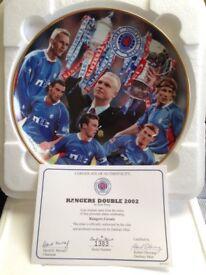 2 x Danbury mint rangers fc authentic ceramic plate