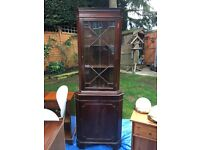 glass fronted corner cabinet in mahogany perfect for up cycling