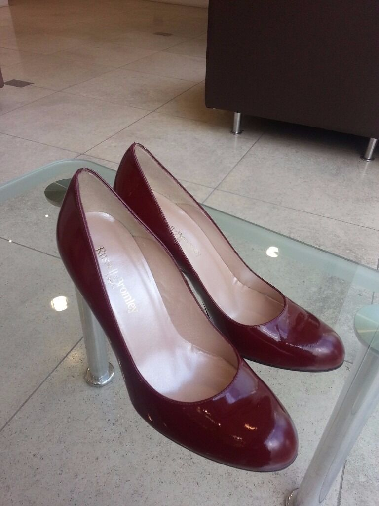 Russell Bromley Glossy Dark Red Patent Leather Court Heels Mint Condition