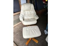 Reclining/ Swivel Leather look chair and matching footstool.
