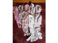 Large Bundle Of Girls Sleepsuits Newborn-3 Months