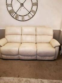 3+2 cream leather recliner